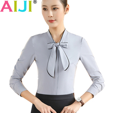 Buy plus size women clothing long sleeve shirts OL elegant bow tie stand collar formal chiffon blouse office ladies work wear tops for $12.37 in AliExpress store