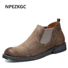 NPEZKGC New Chelsea Boots Men 's Boots Casual Pointed Toe Fall Winter Cow Suede Male Boots Short Tube Homme Shoes(China)