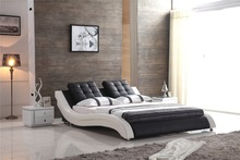 Stunning S-shape leather furniture soft bed 803(China)
