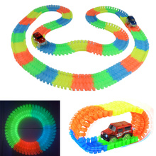 Dropshipping 220pcs/lot Tracks Bend Flex Glow in the Dark Assembly Toy DIY Glowing racing set With Free 1pc LED Car