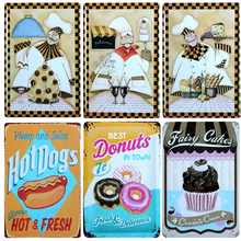 Hot Different Kinds Desserts Vintage Metal Signs Home Decor Vintage Tin Signs Pub Vintage Decorative Plates Metal Wall Art(China)