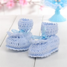 Set of 5 Hand Knite Booties Baby Play House Crochet Doll Accessories Blue Ski Shoes Baby Shower Favors