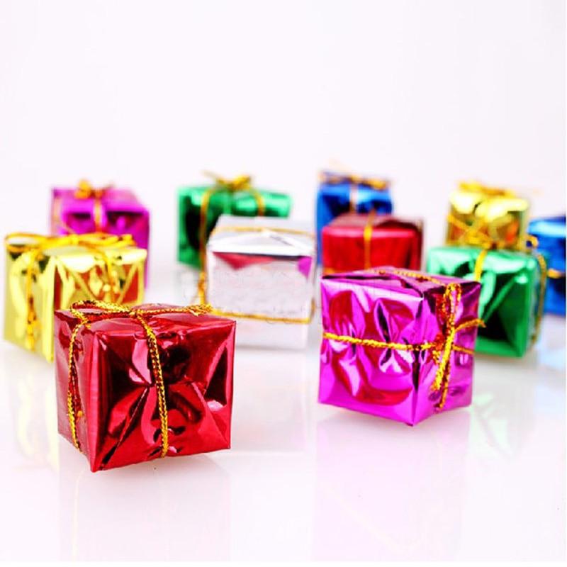 6 Christmas Ornaments Part - 47: 6 Pcs/lot 4/5cm Christmas Ornament Colorful Mini Gift Box Christmas Tree  Pendant