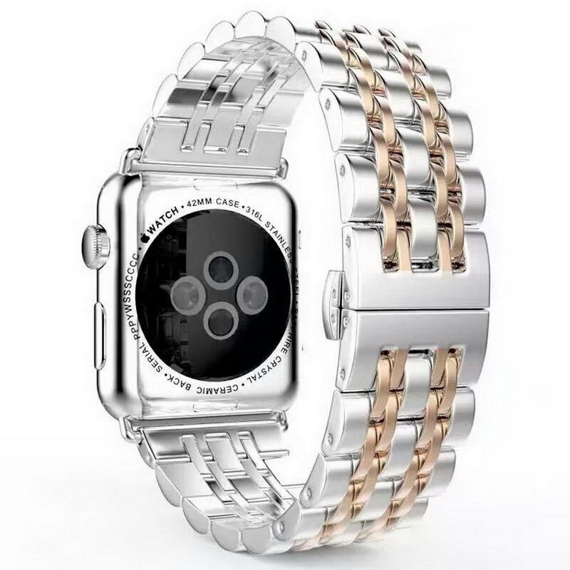 2017 Butterfly Lock Stainless Steel Bracelet Strap For Apple Watch Band With Connector Adapter For iwatch Watchband 38mm 42mm<br><br>Aliexpress