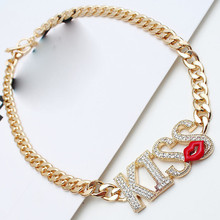 Fashion Jewelry Sex Lips KISS Clavicle Necklace For Female Exaggerated Luxury Full Rhinestone Accessories Decorative Chain(China)