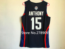#15 Carmelo Anthony 2016 Olympics Dream Team USA Throwback Basketball Jersey US Size S-XXL(China)