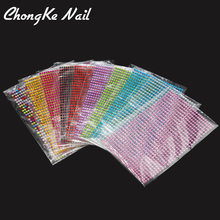 3D Nail Rhinestones Sticker 750Pcs/Sheet 11Color Sticker For Stamping Charms Bronzing Nail Art Decal(China)