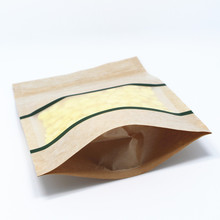 DHL 13*18cm Stand Up 400Pcs/ Lot Kraft Paper Green Lines Package Pouch Storage For Snack Nuts Grain Pack Bags With Matte Window