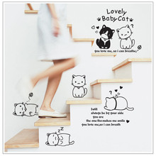 New Fashion DIY Cute Cartoon Black And White Cat Home Decoration Wall Stickers Living Room Cabinet Stove Wall Decals Wallpaper