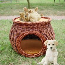 portable willow wicke pet basket pet house pet products pet's house doghouse kennel cat house cats Kitty and the dog house(China)
