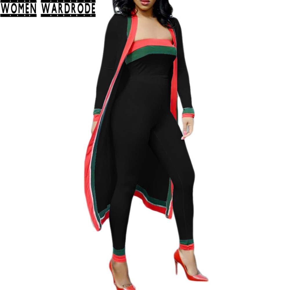 Women Wardrobe Autumn Black 3 piece set suit Crop Top Romper Outfits women Long Sleeve Coat Print Jumpsuit Tracksuit Female