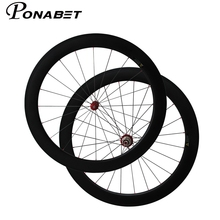 PONABET Straight pull 60mm clincher bicycle wheels with powerway R36 carbon hub cn aero 424 spoke from Taiwan factory