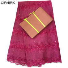 JXFABRIC 2017 Fushia Nigerian Lace New Arrival French Lace Fabric With Matching African Gele Aso Oke Headtie For Dress Women(China)