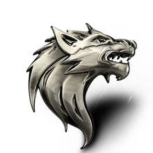 1 piece Cool Dragon Car Styling 3D Metal Wolf Head Auto Car Truck Sticker Logo Prime Emblem Badge Stickers Decal