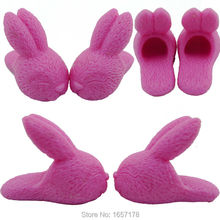 A Lot = 4 Pairs Fashion High Quality Cute Pink Rabbit Shoes Sandals Accessories For Barbie Doll Clothes Dress Best Gift TM