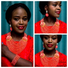 Laanc Brand Nigerian Wedding Costume African Beads Necklace Genuine Natural Pink Coral Jewelry Set Free Shipping AL278