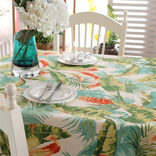 High Quality Cotton thick canvas table cloth tropical rain forest banana leaf table cloth(China)
