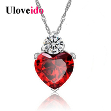 Uloveido 15% off Heart Red Pendant Necklace Love Perfume Women Girl Necklaces Wedding Party Sale Jewerly Christmas Gift 55641