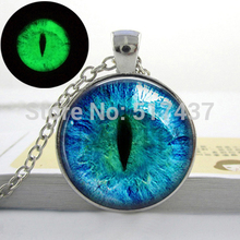 Blue Cats Eye Necklace - Glowing Eye Pendant - Silver luminous Picture Glowing Jewelry Gifts for Women Glow in the DARK