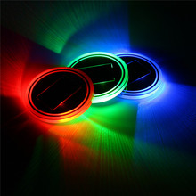 Universal Car Cup Holder Solar powered Bottom Pad LED Solar Light Cover Trim Atmosphere Lamp