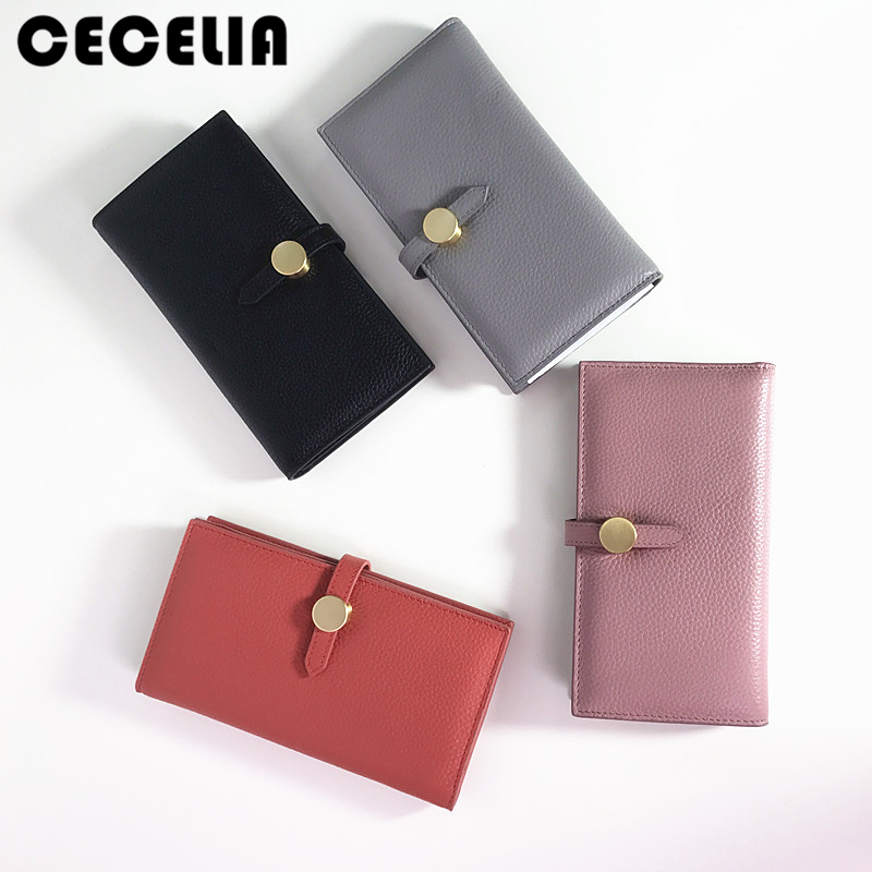 Cecelia 100% Real Leather Zip Wallet Women Famous Brand Luxury Designer Wallets Ladies Coin Purse Female Genuine Leather Clutch<br>