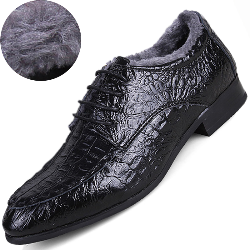 Winter Fleece Casual Mens Dress Shoes Genuine Leather Crocodile Lace-up Italian Stylist Flat Formal Oxfords Wedding Shoe 38-50
