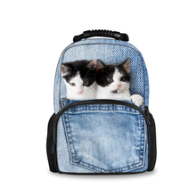 FORUDESIGNS Denim Vintage Cats Dogs Women Backpack Fashion Cute Travel Rucksack Blue Pocket Animals Printing Mochila Masculina