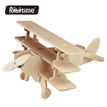 Solar Energy Aircrafts Natural Wooden Toy Ancient Plane Triplane Model Kids Favourite Handmade Airplane Rotate Propellers P250
