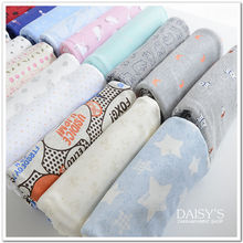 stretchy baby cotton knitting jersey fabric printing cartoon cute baby clothing making cotton fabric 50*170cm