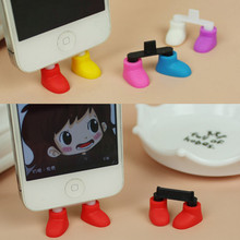 Best Price 5pcs Cute Shoes Feet Shaped Dustproof Stopper Charge Port Dust Plug For Iphone 5