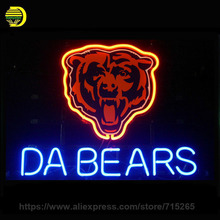 "NEON SIGN For LED CHICAGO BEARS DA BEARS FOOTBALL Signboard REAL GLASS BEER BAR PUB display christmas Light Signs 17*14"" VD"