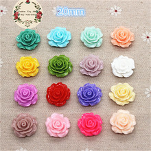 50pcs 20mm Resin Camellia Flower Flatback Cabochon DIY Scrapbooking Decorative Craft Making,15 Colors to Choose