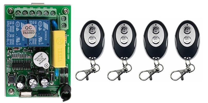 Hot Sales AC220 2CH 10A Wireless Remote Control Switch System 1*Receiver and 4* ellipse shape Transmitter Applicance Garage Door<br><br>Aliexpress