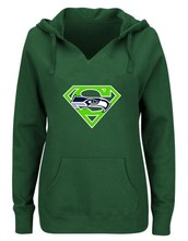 Women's Winter Seahawks Fans Hoodies New Design Seattle Sweatshirts Superman S Logo Picture Print Fashion Tops V-neck Pullover(China)