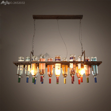 Creative Recycled Retro Ceiling Pendant Lamps Hanging Wine Bottle Led Light Dining Room/Bar/Restaurant Kitchen Lighting Fixture
