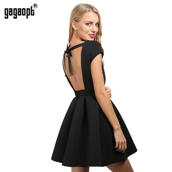 Gagaopt D'été Sexy Partie Robes Princesse Dos Ouvert Arc Dos Nu Robes O-cou Robes Automne Bandage Dress Vestidos Robes