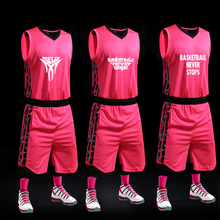 XUNFEI Basketball Jersey Men Pink Sport Uniforms Summer Breathable Custom Team Male Sportswear Kits(China)