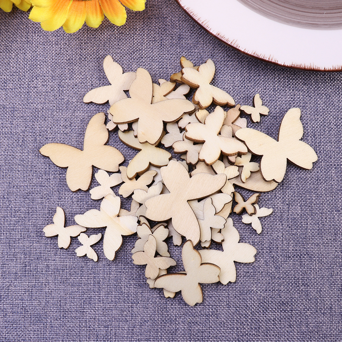 50pcs Mixed Size Wooden Butterflies Craft Embellishments MDF Wooden Cutout  Scrapbooking for DIY Art Wedding Decoration 0a796a0863f8