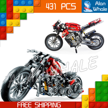 431pcs 3353 Technic Motorbike Street Motorcycle Model Building Blocks front-wheel steering Toy Compatible with Lego