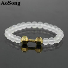 AoSong Crystal Matte beads 8MM Gold Color Men women Dumbbell Chakra Yoga cristal stone Bracelets Reiki Fit Life pulseira