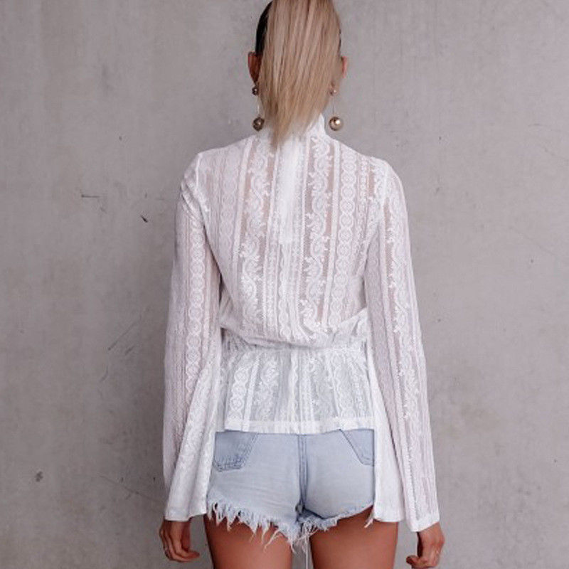 DeRuiLaDy 2018 Women Lace Blouse Shirt Elegant Flare Sleeve Long Sleeve Sexy Transparent Shits Casual Stand Chiffon White Tops 5