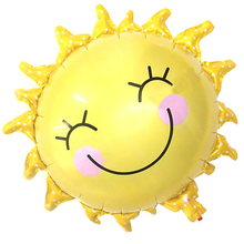 1pcs 65*65cm Cute Smile Face Sunflower Balloon Baby Shower Foil Golden Balloon Party/birthday/wedding Decoration JK0314