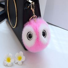1 PCC Fashion New Cute Fluffy Faux Rabbit Fur Panda Plush Key Chain Car Pendant Women Bags Key Rings Panda Key Rings Jewelry(China)