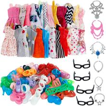 30 Item/Set Doll Accessories = 10x Mix Fashion Cute Dress + 4x Glasses+ 6x Necklaces +  10x Shoes  Dress Clothes For Barbie Doll(China)
