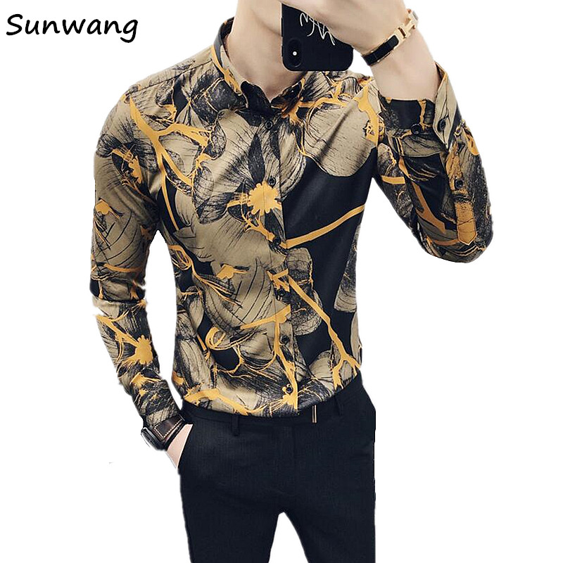 Sunwang 2019 Spring Autumn Luxury Floral Shirts Men Casual dressed Shirt New Arrival Long Sleeve Casual Slim Fit Male Shirts