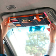 2017 Card Storage Holder In-Car dark blue Sun Visor Point Pocket Organizer Pouch Bag Pocket Drop shipping Hot Sale