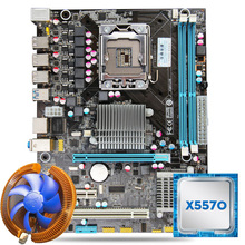 HUANAN X58 motherboard CPU combos with cooler X58 LGA1366 motherboard Intel Xeon X5570 CPU RAM dual channel front USB3.0 port(China)