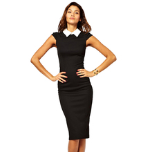 AAMIKAST Women Dresses 2017 Elegant Bandage Bodycon Summer Dress Patchwork Party Evening Wear To Work Dresses Knee-length(China)