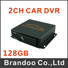 Free shipping 2 channel mobile DVR, support alarm input, 128GB sd card, auto recording or motion detection, model BD-302B