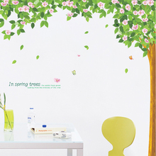 Large Pink Flower Green Leaves Tree Living Room Decorative Stickers Spring Mural Sofa TV Backdrop Home Decor Decal